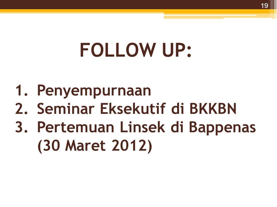 FOLLOW UP: 19 1.Penyempurnaan 2.Seminar Eksekutif di BKKBN 3.Pertemuan Linsek di Bappenas (30 Maret 2012)