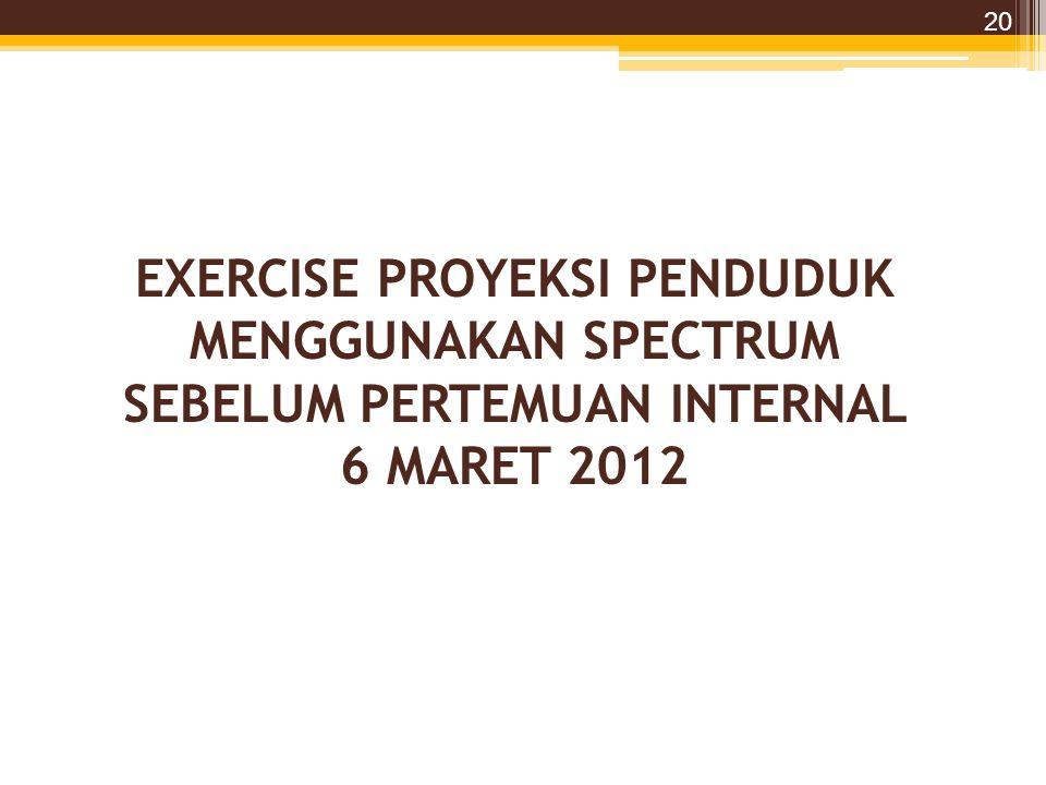 EXERCISE PROYEKSI PENDUDUK MENGGUNAKAN SPECTRUM SEBELUM PERTEMUAN INTERNAL 6 MARET 2012 20