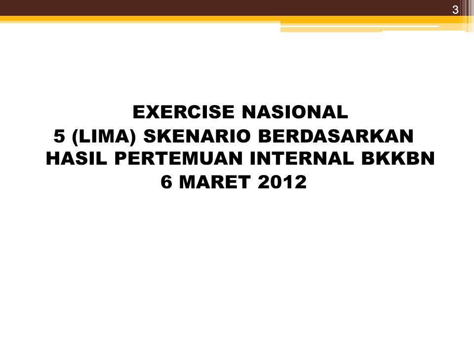 EXERCISE NASIONAL 5 (LIMA) SKENARIO BERDASARKAN HASIL PERTEMUAN INTERNAL BKKBN 6 MARET 2012 3