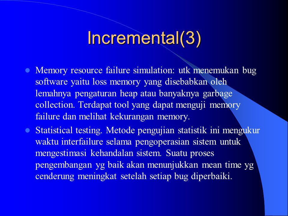 Incremental (3) – Check-in tests for code: Idenya adalah untuk menghubungkan antara automatic test program (biasanya regression test) dengan sistem change control.