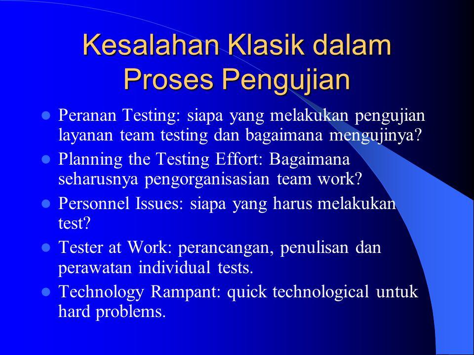 Peranan dari Penguji Memikirkan tim penguji bertanggung jawab untuk menjaga kualitas, Memikirkan bahwa tujuan pengujian adalah untuk menemukan bugs.