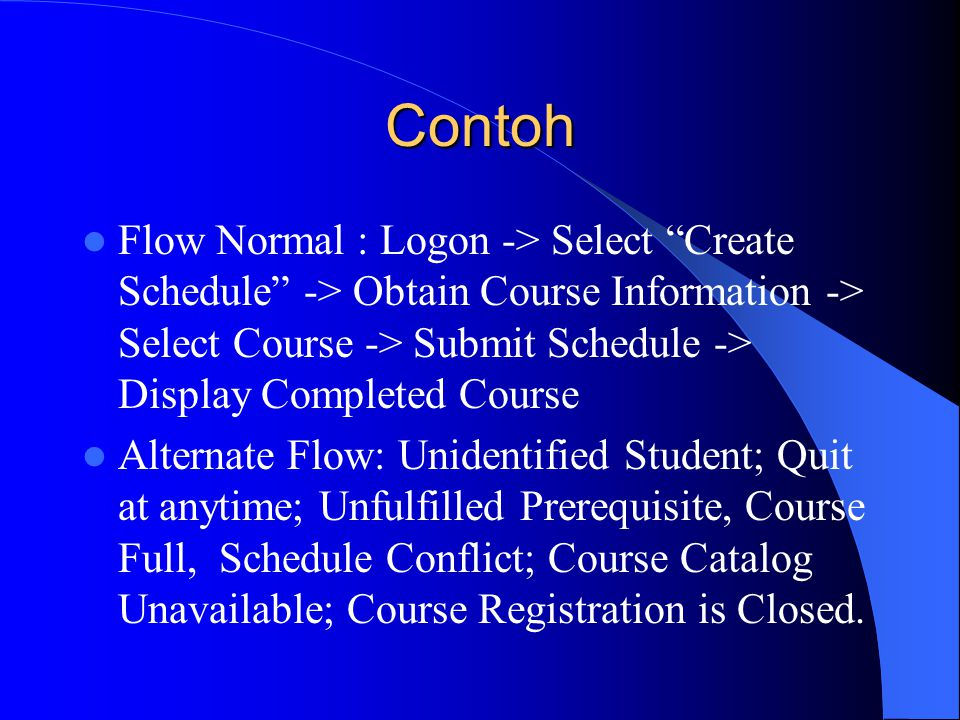 "Contoh Flow Normal : Logon -> Select ""Create Schedule"" -> Obtain Course Information -> Select Course -> Submit Schedule -> Display Completed Course Al"