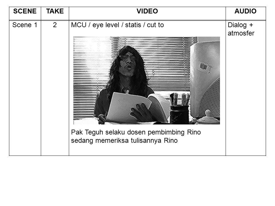 Scene 12MCU / eye level / statis / cut to Pak Teguh selaku dosen pembimbing Rino sedang memeriksa tulisannya Rino Dialog + atmosfer SCENETAKEVIDEOAUDI