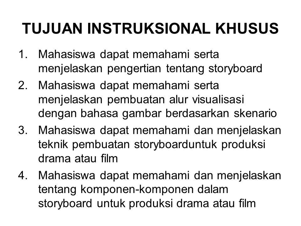TUJUAN INSTRUKSIONAL KHUSUS 1.Mahasiswa dapat memahami serta menjelaskan pengertian tentang storyboard 2.Mahasiswa dapat memahami serta menjelaskan pe