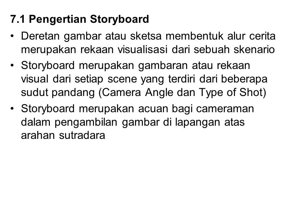 7.2 Fungsi Storyboard Berikut ini akan diuraikan tentang fungsi dari storyboard : 1.Sebagai kerangka visualisasi dari alur cerita berdasarkan skenario yang telah dibuat 2.Sebagai pemecah gambar (visual) berdasarkan sudaut pandang (camera angle dan type of shot) pada setiap scene 3.Sebagai acuan DOP (director of photography) atau juru kamera dalam pengambilan gambar dilapangan ataushooting 4.Mempermudah produksi sebuah skenario menjadi sebuah fotage-fotage berdasarkan scene yang ada