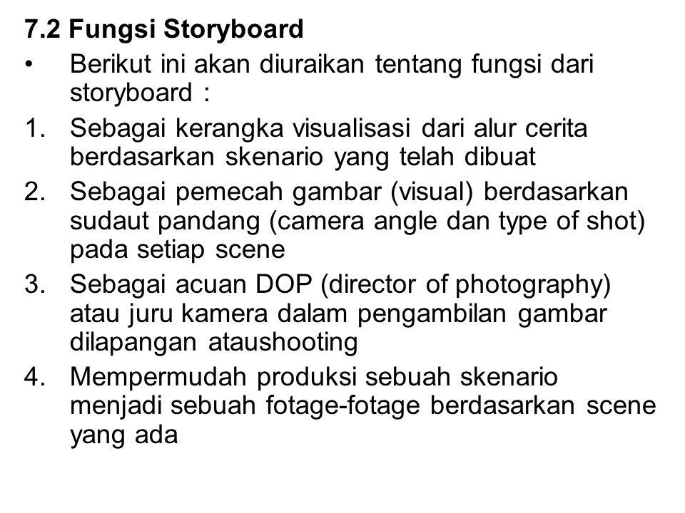 7.2 Fungsi Storyboard Berikut ini akan diuraikan tentang fungsi dari storyboard : 1.Sebagai kerangka visualisasi dari alur cerita berdasarkan skenario