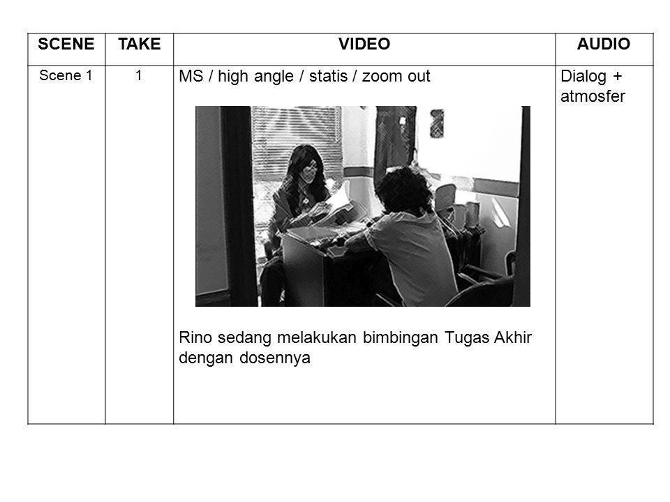 SCENETAKEVIDEOAUDIO Scene 11 MS / high angle / statis / zoom out Rino sedang melakukan bimbingan Tugas Akhir dengan dosennya Dialog + atmosfer