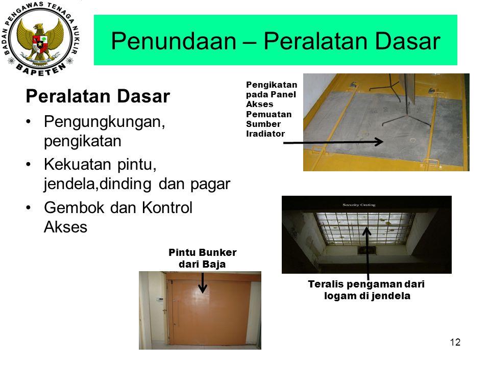 Penundaan – Peralatan Dasar Peralatan Dasar Pengungkungan, pengikatan Kekuatan pintu, jendela,dinding dan pagar Gembok dan Kontrol Akses 12 Pengikatan