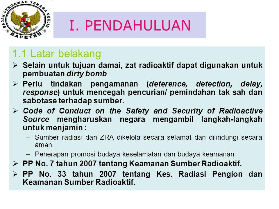 I. PENDAHULUAN 1.1 Latar belakang  Selain untuk tujuan damai, zat radioaktif dapat digunakan untuk pembuatan dirty bomb  Perlu tindakan pengamanan (