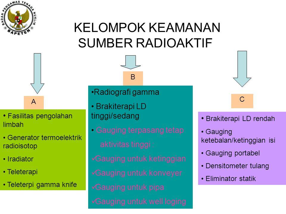KELOMPOK KEAMANAN SUMBER RADIOAKTIF A Fasilitas pengolahan limbah Generator termoelektrik radioisotop Iradiator Teleterapi Teleterpi gamma knife B Rad
