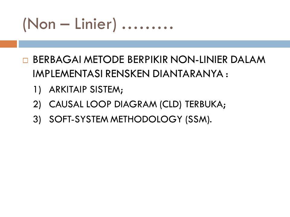 (Non – Linier) ………  BERBAGAI METODE BERPIKIR NON-LINIER DALAM IMPLEMENTASI RENSKEN DIANTARANYA : 1)ARKITAIP SISTEM; 2)CAUSAL LOOP DIAGRAM (CLD) TERBU