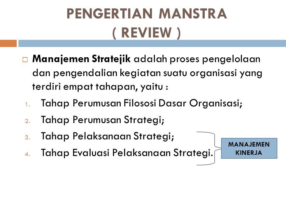 PENGERTIAN MANSTRA ( REVIEW )  Manajemen Stratejik adalah proses pengelolaan dan pengendalian kegiatan suatu organisasi yang terdiri empat tahapan, y
