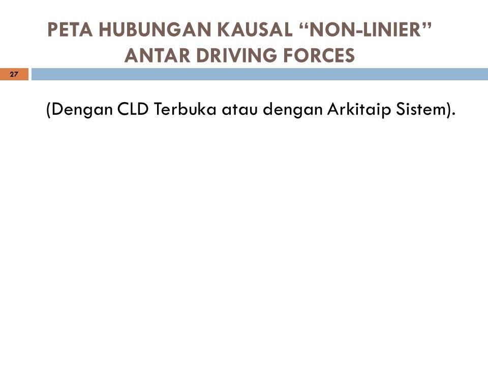 """PETA HUBUNGAN KAUSAL """"NON-LINIER"""" ANTAR DRIVING FORCES 27 (Dengan CLD Terbuka atau dengan Arkitaip Sistem)."""