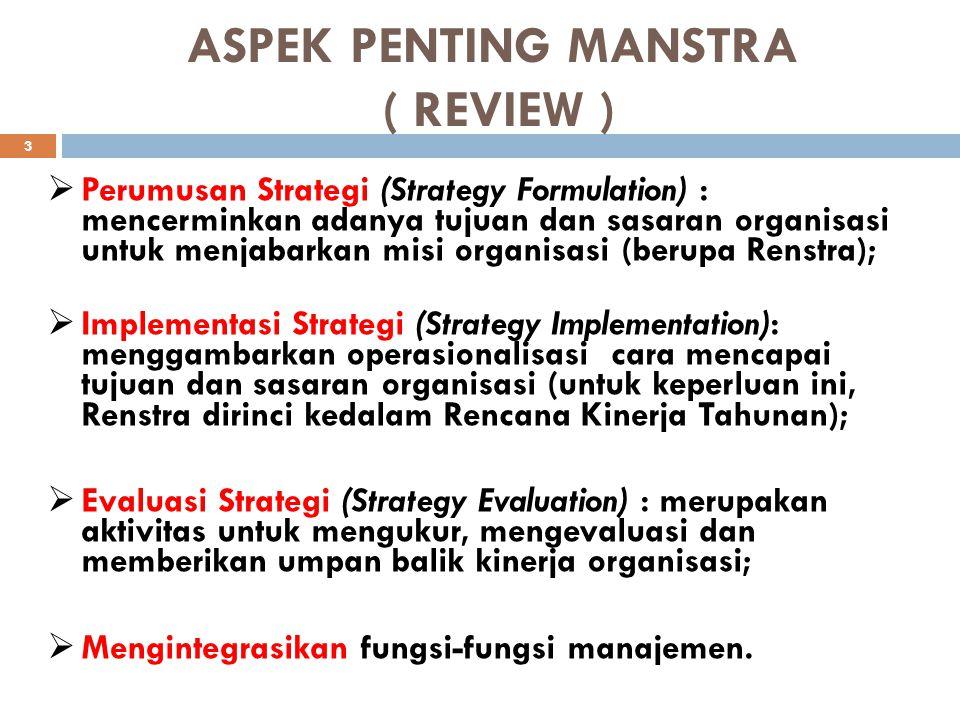 ASPEK PENTING MANSTRA ( REVIEW ) 3 PP erumusan Strategi (Strategy Formulation) : mencerminkan adanya tujuan dan sasaran organisasi untuk menjabarkan