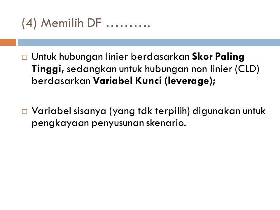 (4) Memilih DF ……….  Untuk hubungan linier berdasarkan Skor Paling Tinggi, sedangkan untuk hubungan non linier (CLD) berdasarkan Variabel Kunci (leve