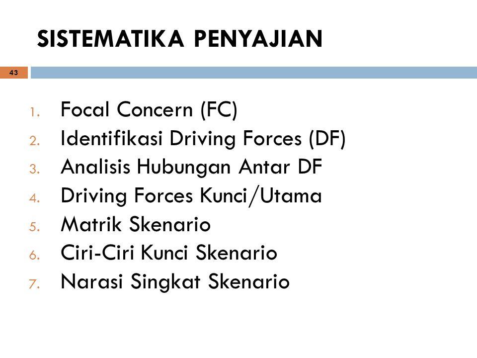 43 SISTEMATIKA PENYAJIAN 1. Focal Concern (FC) 2. Identifikasi Driving Forces (DF) 3. Analisis Hubungan Antar DF 4. Driving Forces Kunci/Utama 5. Matr