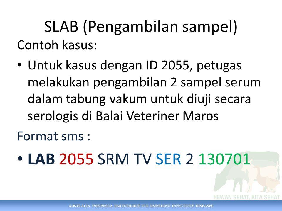 AUSTRALIA INDONESIA PARTNERSHIP FOR EMERGING INFECTIOUS DISEASES Contoh kasus: Untuk kasus dengan ID 2055, petugas melakukan pengambilan 2 sampel seru