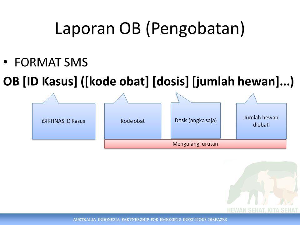 AUSTRALIA INDONESIA PARTNERSHIP FOR EMERGING INFECTIOUS DISEASES FORMAT SMS OB [ID Kasus] ([kode obat] [dosis] [jumlah hewan]...) iSIKHNAS ID Kasus Do