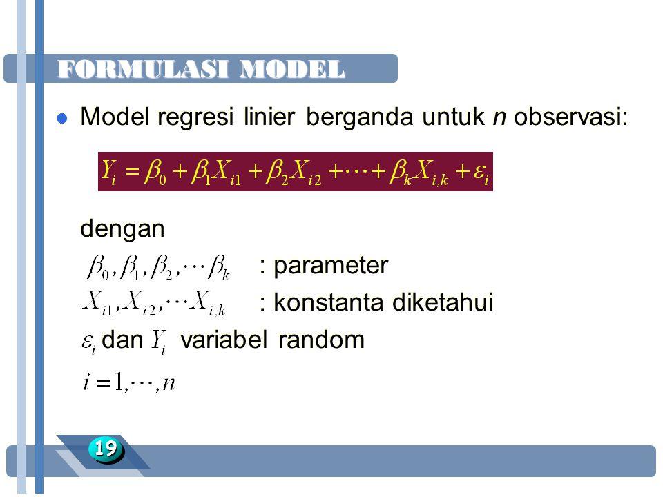 FORMULASI MODEL 1919 l Model regresi linier berganda untuk n observasi: dengan : parameter : konstanta diketahui dan variabel random l Model regresi l