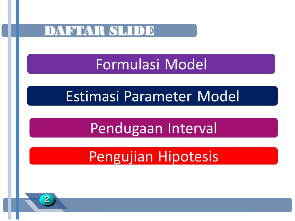 ESTIMASI PARAMETER MODEL 2323 l Postulate Model: l Model taksiran: l Residual/sisaan: l, metode: 1.