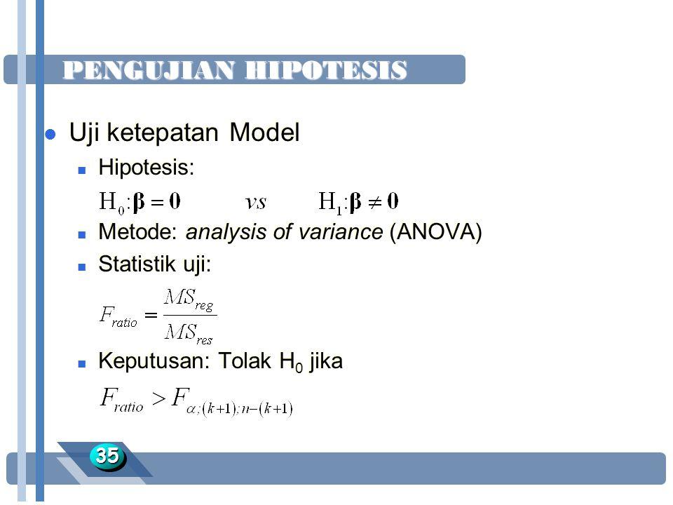 PENGUJIAN HIPOTESIS 3535 l Uji ketepatan Model n Hipotesis: n Metode: analysis of variance (ANOVA) n Statistik uji: n Keputusan: Tolak H 0 jika l Uji