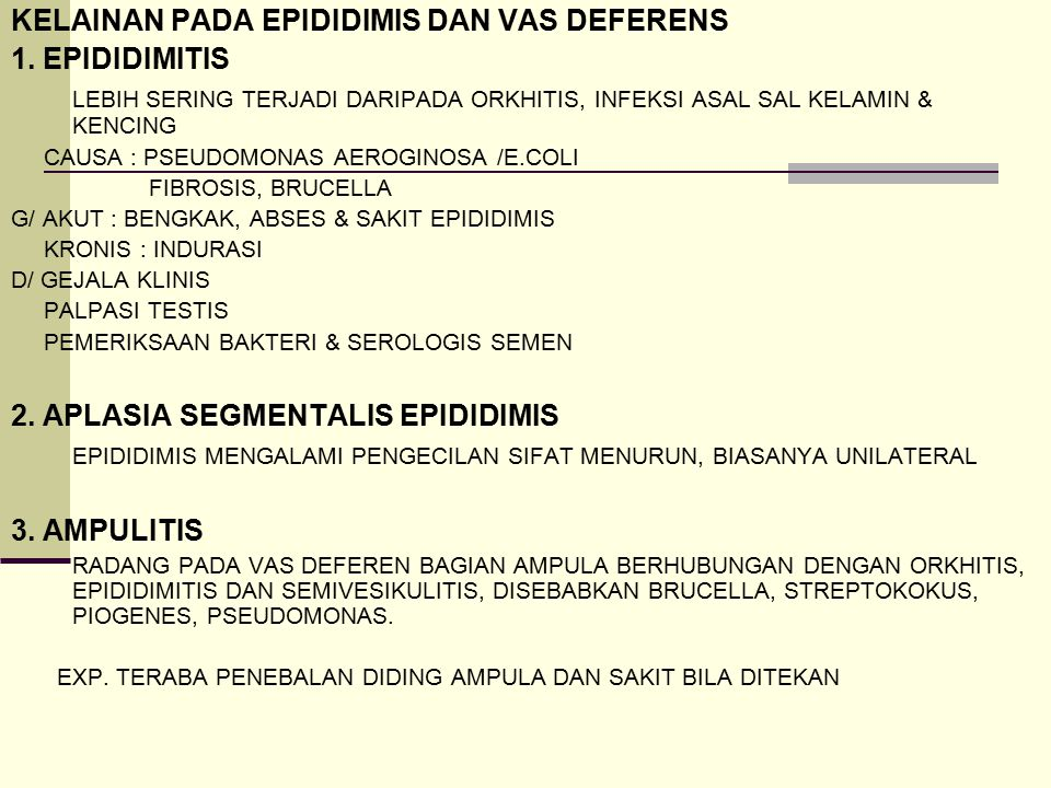 KELAINAN PADA EPIDIDIMIS DAN VAS DEFERENS 1. EPIDIDIMITIS LEBIH SERING TERJADI DARIPADA ORKHITIS, INFEKSI ASAL SAL KELAMIN & KENCING CAUSA : PSEUDOMON