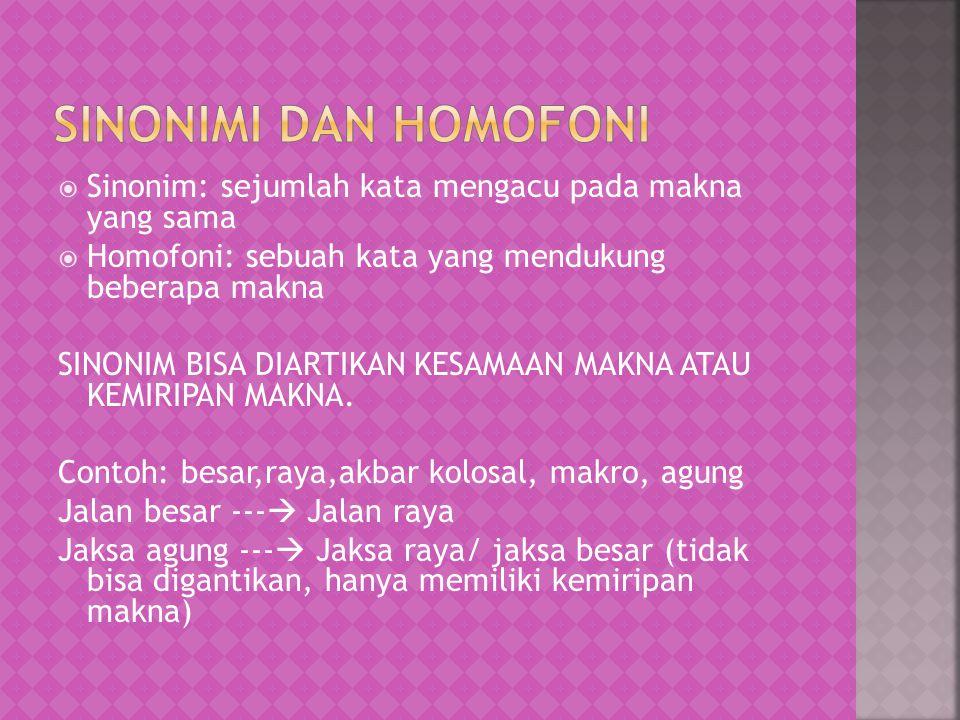  Sinonim: sejumlah kata mengacu pada makna yang sama  Homofoni: sebuah kata yang mendukung beberapa makna SINONIM BISA DIARTIKAN KESAMAAN MAKNA ATAU