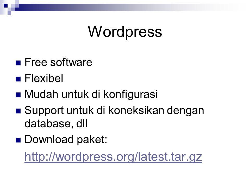 Wordpress Free software Flexibel Mudah untuk di konfigurasi Support untuk di koneksikan dengan database, dll Download paket: http://wordpress.org/late