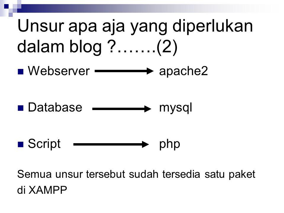 Webserver apache2 Databasemysql Script php Semua unsur tersebut sudah tersedia satu paket di XAMPP Unsur apa aja yang diperlukan dalam blog …….(2)