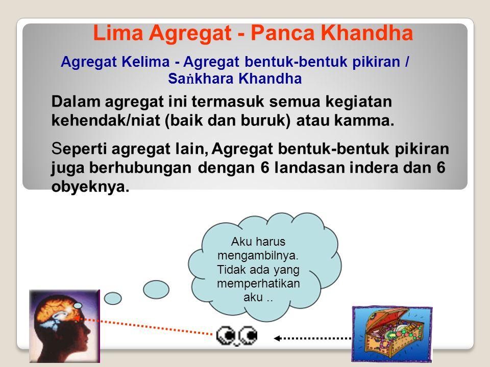 Lima Agregat - Panca Khandha Agregat Kelima - Agregat bentuk-bentuk pikiran / Sa ṅ khara Khandha Dalam agregat ini termasuk semua kegiatan kehendak/ni