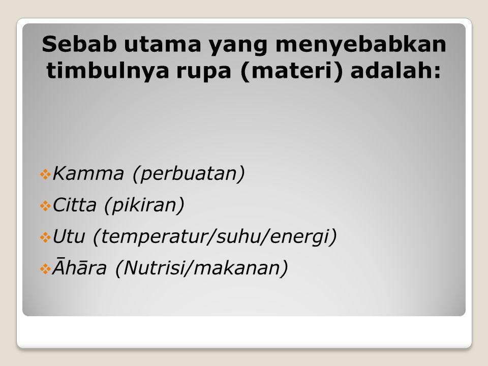Sebab utama yang menyebabkan timbulnya rupa (materi) adalah: KKamma (perbuatan) CCitta (pikiran) UUtu (temperatur/suhu/energi) ĀĀhāra (Nutrisi