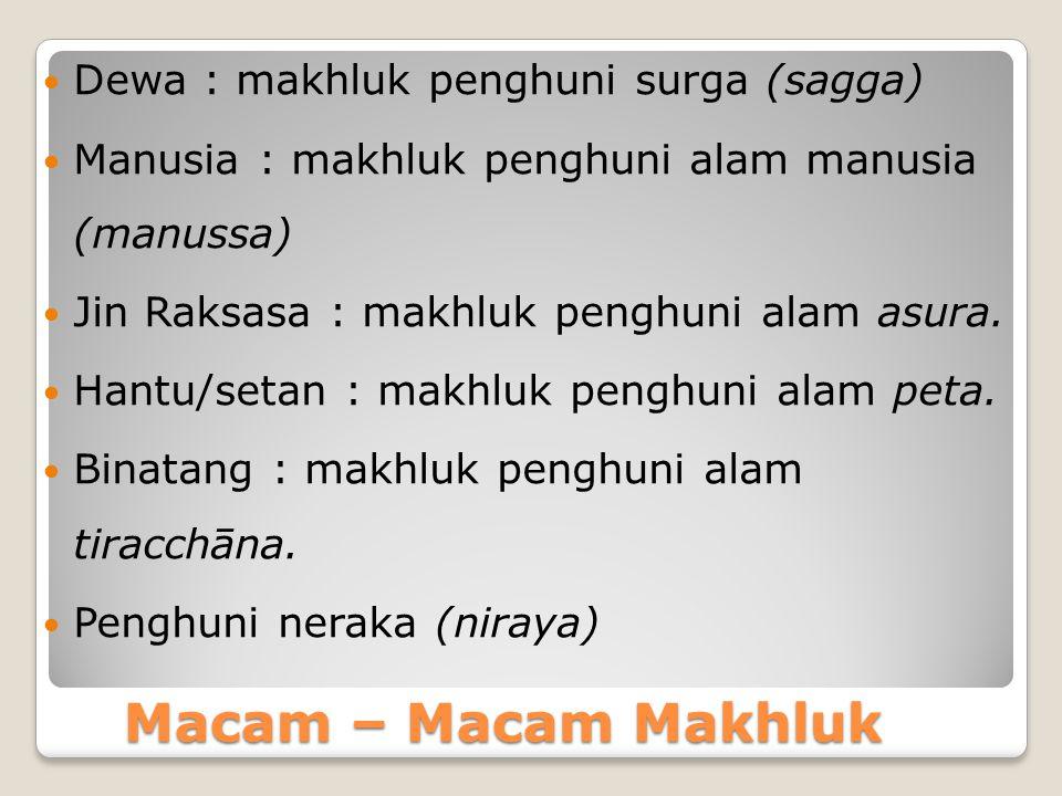 Proses kelahiran manusia menurut Mahatanhasankhaya Sutta 1)Adanya pertemuan antara unsur laki-laki (sperma) dan unsur perempuan (ovum) 2)Perempuan dalam kondisi subur (kondisi rahim yang tepat / siap untuk suatu nidasi) 3)Adanya gandhabba yang siap terlahir kembali.