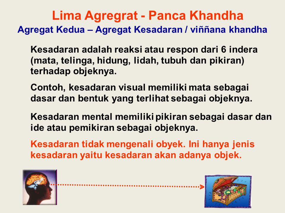 Lima Agregrat - Panca Khandha Agregat Kedua – Agregat Kesadaran / viññana khandha Kesadaran adalah reaksi atau respon dari 6 indera (mata, telinga, hi