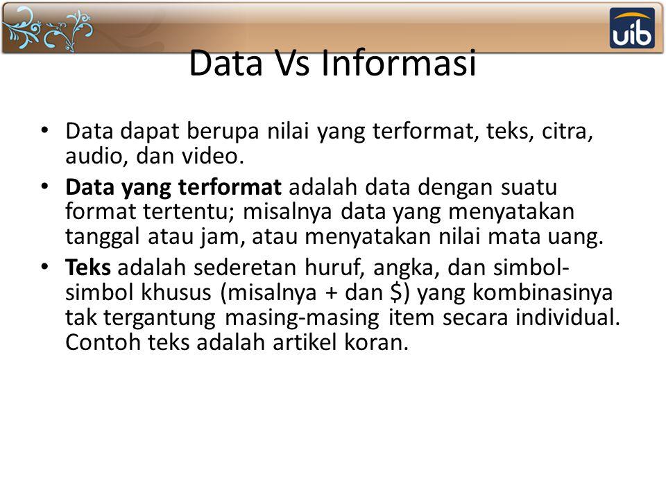 Data Vs Informasi Data dapat berupa nilai yang terformat, teks, citra, audio, dan video.