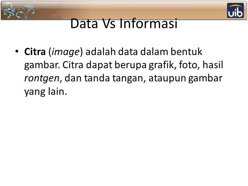Data Vs Informasi Citra (image) adalah data dalam bentuk gambar.