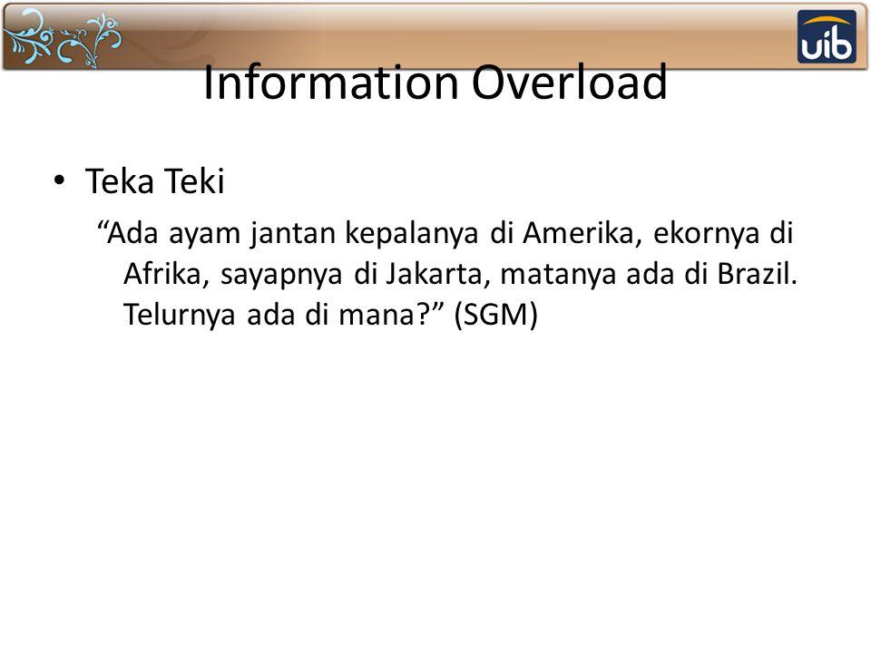 Information Overload Teka Teki Ada ayam jantan kepalanya di Amerika, ekornya di Afrika, sayapnya di Jakarta, matanya ada di Brazil.