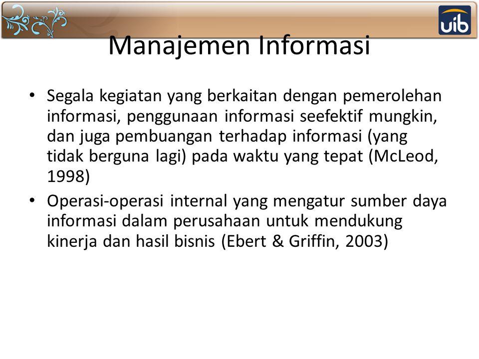 Manajemen Informasi Segala kegiatan yang berkaitan dengan pemerolehan informasi, penggunaan informasi seefektif mungkin, dan juga pembuangan terhadap informasi (yang tidak berguna lagi) pada waktu yang tepat (McLeod, 1998) Operasi-operasi internal yang mengatur sumber daya informasi dalam perusahaan untuk mendukung kinerja dan hasil bisnis (Ebert & Griffin, 2003)