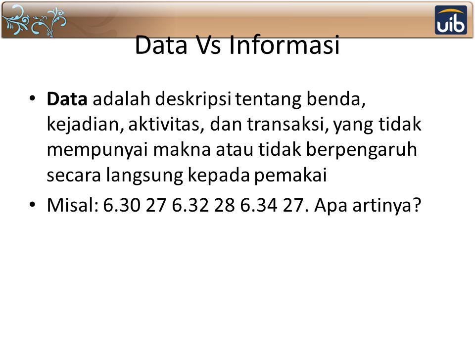 Data Vs Informasi Data adalah deskripsi tentang benda, kejadian, aktivitas, dan transaksi, yang tidak mempunyai makna atau tidak berpengaruh secara langsung kepada pemakai Misal: 6.30 27 6.32 28 6.34 27.