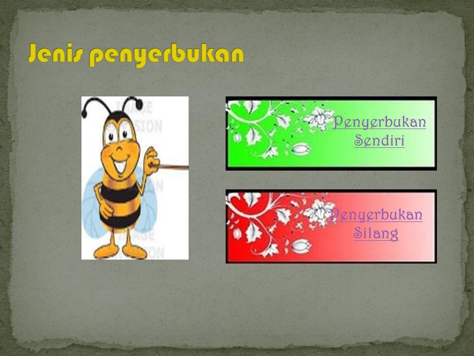c. Perantara hewan (zoogami) Bila serangga (entomogami) burung (ornitogami) siput (malakogami) kelelawar (kiroptorogami) d. Perantara manusia (antropo