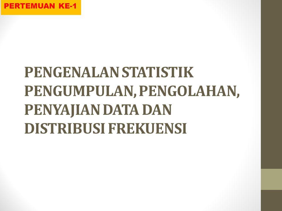 PENGERTIAN STATISTIK Statistik: ilmu yang mempelajari tentang seluk beluk data, yaitu tentang pengumpulan, pengolahan, penganalisisan, penafsiran, dan penarikan kesimpulan dari data yang berbentuk angka-angka.