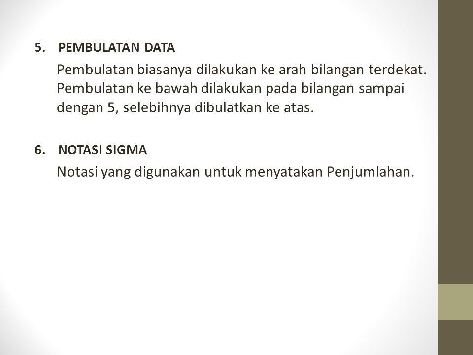 5.PEMBULATAN DATA Pembulatan biasanya dilakukan ke arah bilangan terdekat.