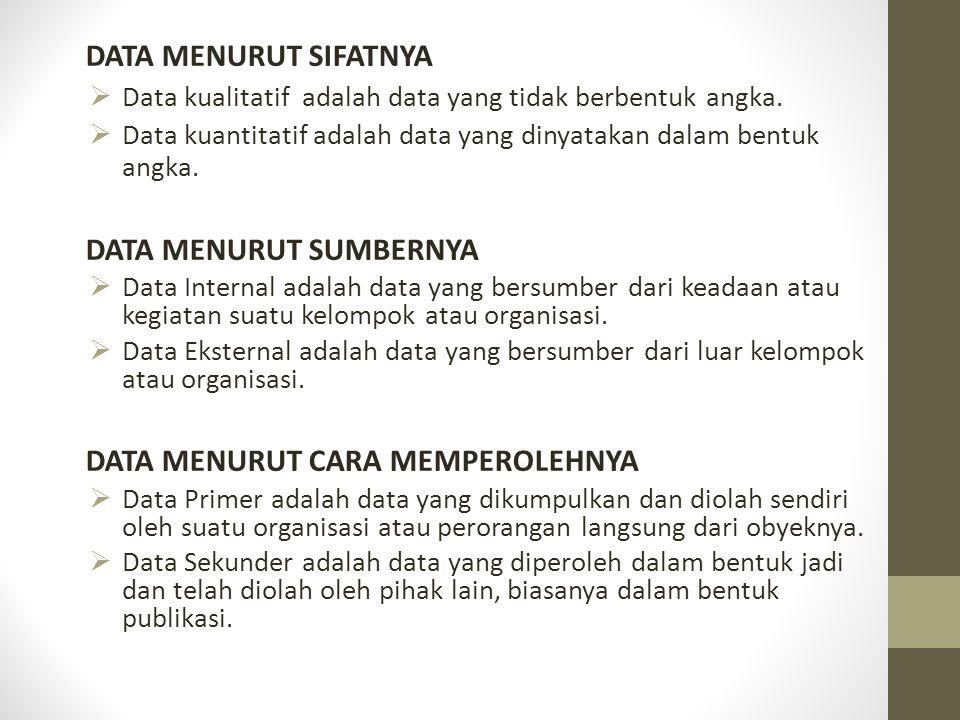 DATA MENURUT SIFATNYA  Data kualitatif adalah data yang tidak berbentuk angka.