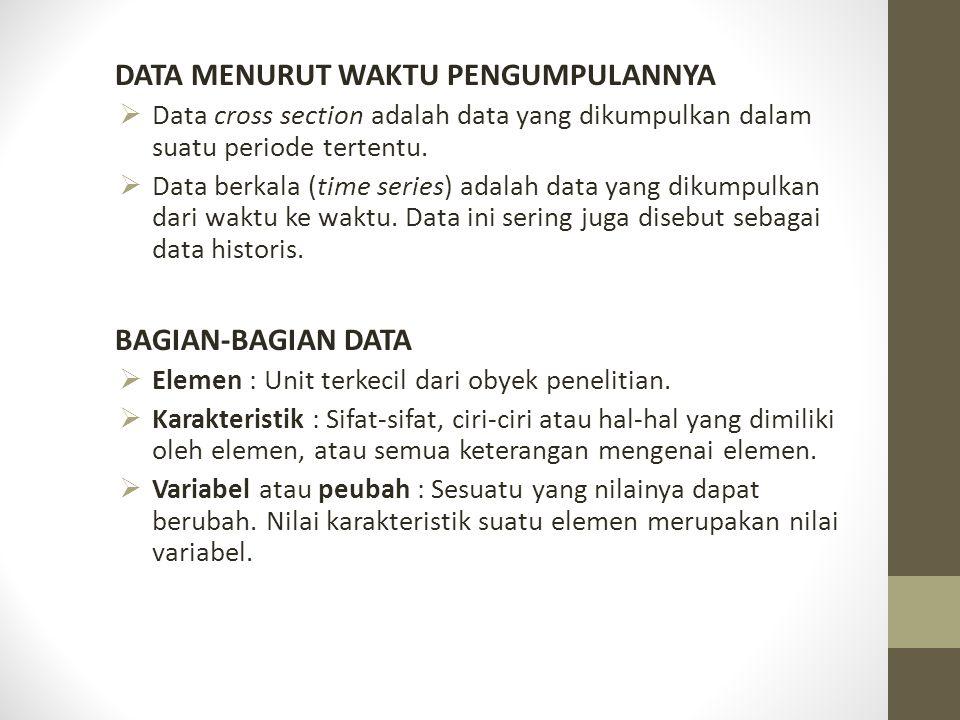 DATA MENURUT WAKTU PENGUMPULANNYA  Data cross section adalah data yang dikumpulkan dalam suatu periode tertentu.  Data berkala (time series) adalah