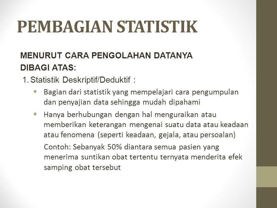 PEMBAGIAN STATISTIK MENURUT CARA PENGOLAHAN DATANYA DIBAGI ATAS: 1.Statistik Deskriptif/Deduktif :  Bagian dari statistik yang mempelajari cara pengu