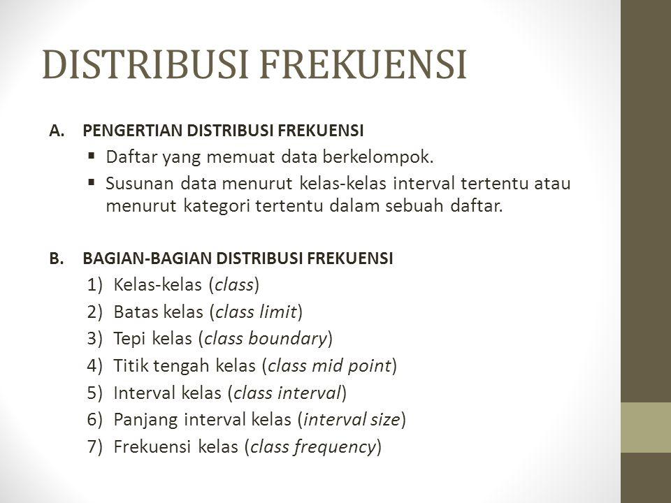 DISTRIBUSI FREKUENSI A.PENGERTIAN DISTRIBUSI FREKUENSI  Daftar yang memuat data berkelompok.