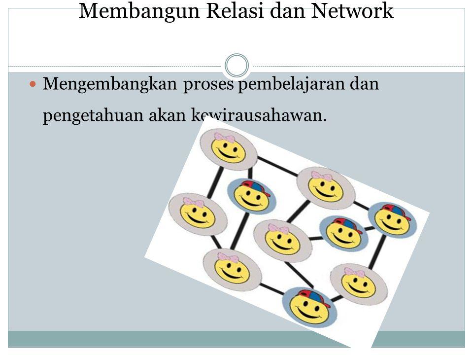 Membangun Relasi dan Network Mengembangkan proses pembelajaran dan pengetahuan akan kewirausahawan.