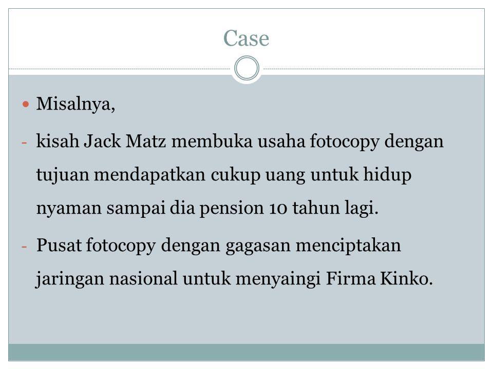 Case Misalnya, - kisah Jack Matz membuka usaha fotocopy dengan tujuan mendapatkan cukup uang untuk hidup nyaman sampai dia pension 10 tahun lagi. - Pu