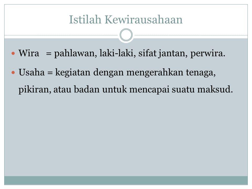 Istilah Kewirausahaan Wira = pahlawan, laki-laki, sifat jantan, perwira. Usaha = kegiatan dengan mengerahkan tenaga, pikiran, atau badan untuk mencapa