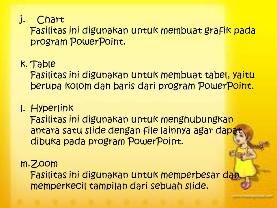 j. Chart Fasilitas ini digunakan untuk membuat grafik pada program PowerPoint. k.Table Fasilitas ini digunakan untuk membuat tabel, yaitu berupa kolom