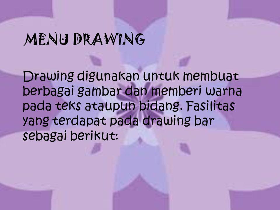 MENU DRAWING Drawing digunakan untuk membuat berbagai gambar dan memberi warna pada teks ataupun bidang. Fasilitas yang terdapat pada drawing bar seba